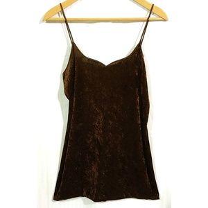 VTG 90s Brown Velvet Spaghetti Strap Mini Dress